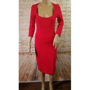 Moda International Red Stretch Pencil Midi Dress 6
